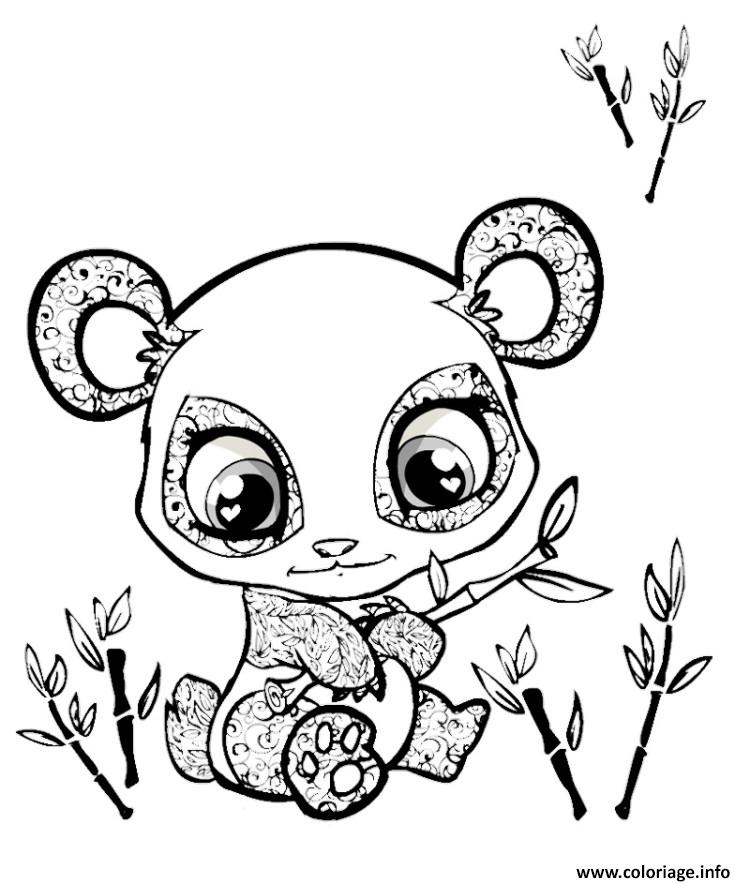 Coloriage Cute Panda Animaux Mignon Dessin