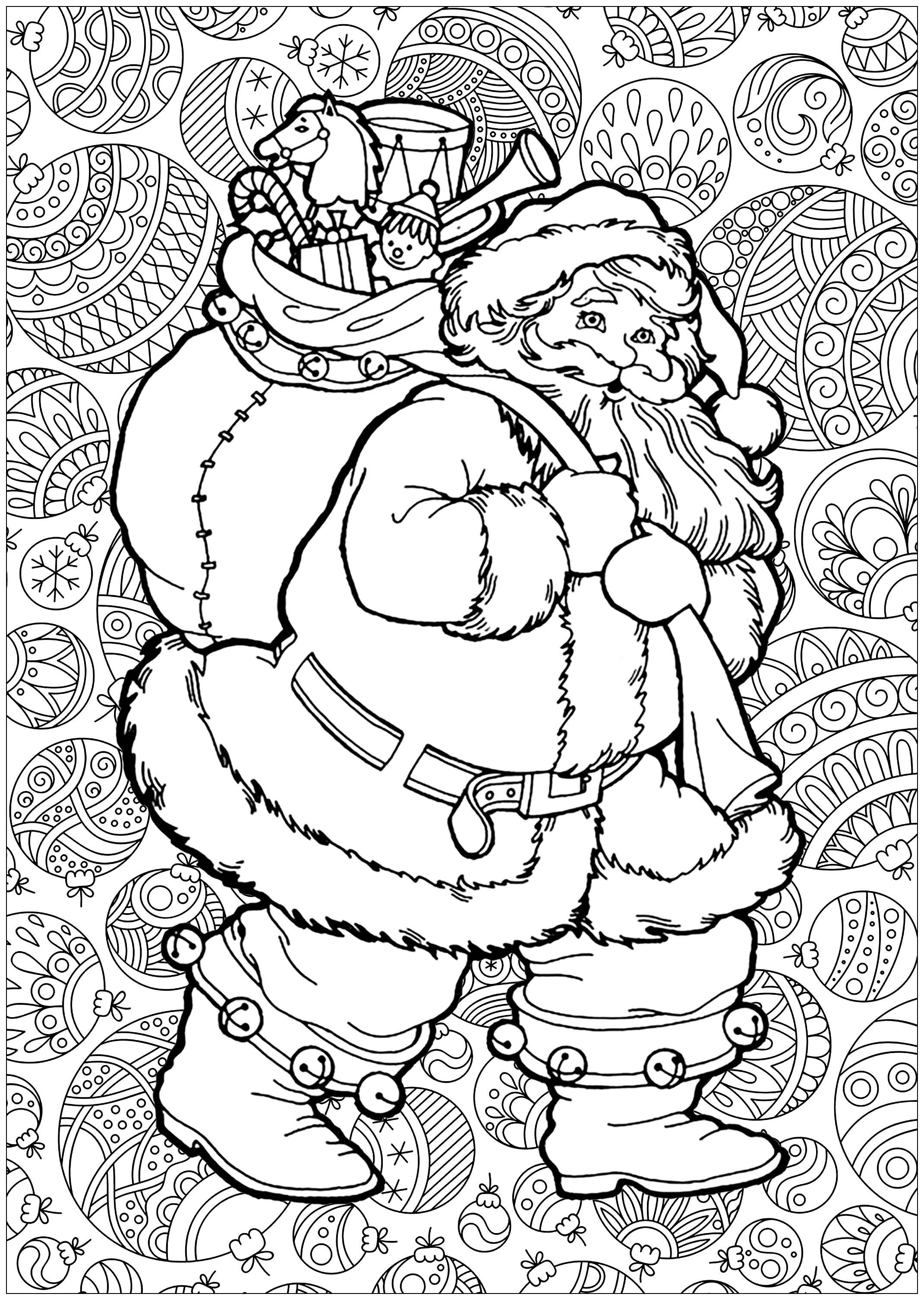 Pere Noel Avec Fond Noel Coloriages Difficiles Pour Adultes